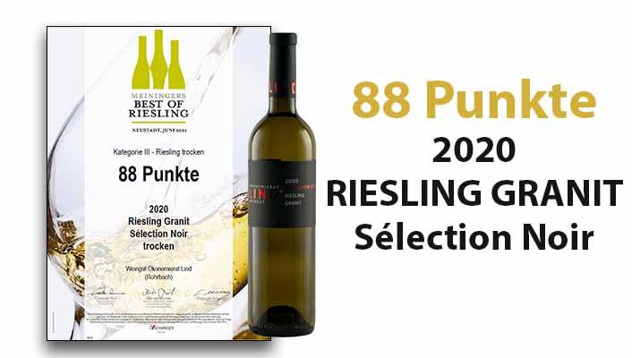 Best of Riesling 2020 - 88 Punkte für unseren 2020 RIESLING GRANIT Sélection Noir