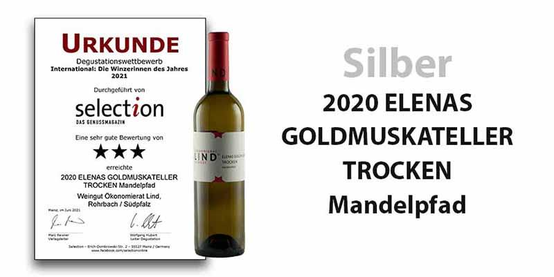 """Degustationswettbewerb Sélection """"International - Winzerinnen des Jahres 2021"""" – Silber für unseren 2020 ELENAS GOLDMUSKATELLER TROCKEN Mandelpfad"""