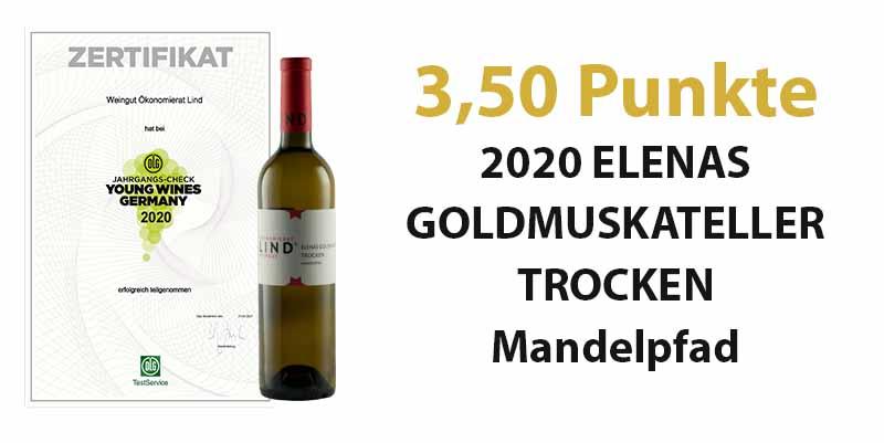 Young Wines Germany 2021 – 3,50 Punkte für unseren 2020 ELENAS GOLDMUSKATELLER TROCKEN Mandelpfad