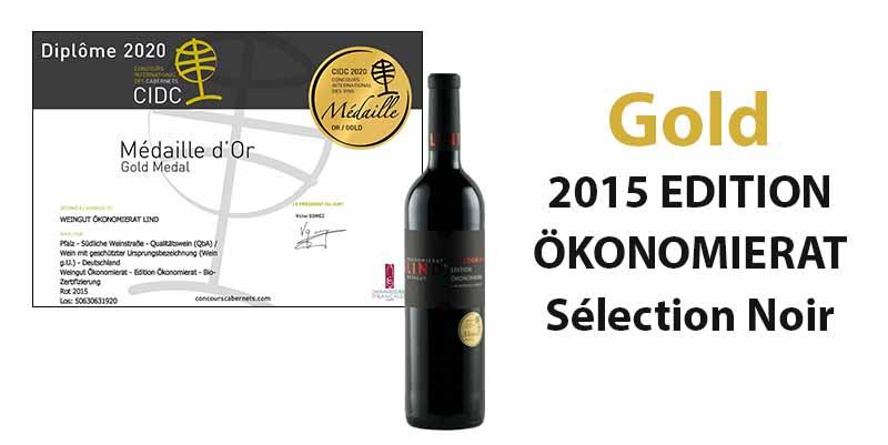 Concours International des Cabernets 2020: Gold für unseren 2015 EDITION ÖKONOMIERAT Sélection Noir